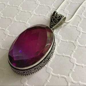 Jewelry - 925 Bi-Color Tourmaline Magenta Green Pendent
